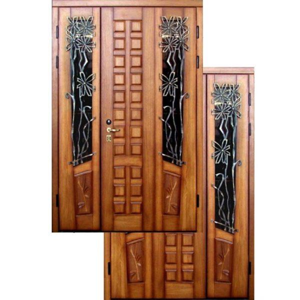 Входная дверь МАССИВ ДУБА с ковкой СП422
