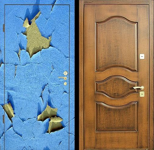 Входная металлическая дверь фотопечать и массив дуба СП068